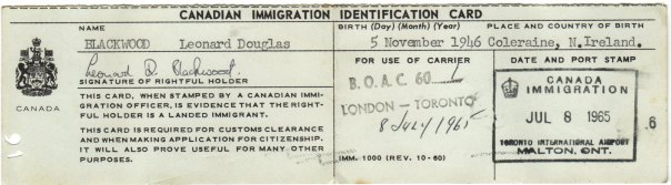 Immigration card