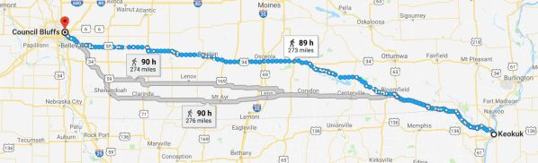 Keokuk to Council Bluffs